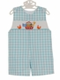 NEW Anavini Aqua Checked Smocked Shortall with Noah's Ark Embroidery