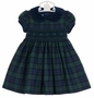 NEW Anavini Blackwatch Plaid Smocked Dress with Navy Velvet Collar