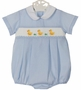 NEW Anavini Blue Checked Smocked Romper with Embroidered Ducks