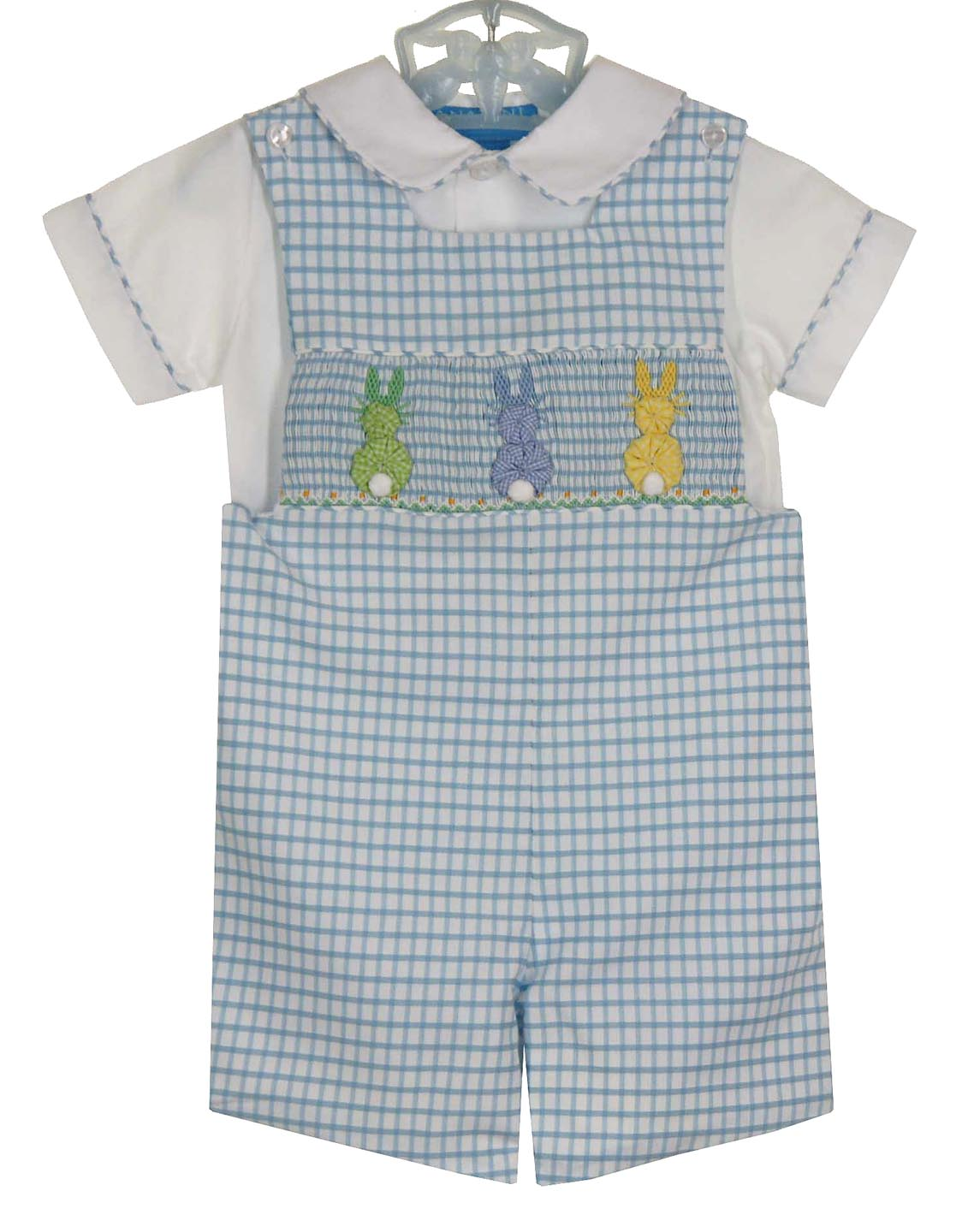 New Anavini Blue Checked Smocked Shortall Set With Pastel