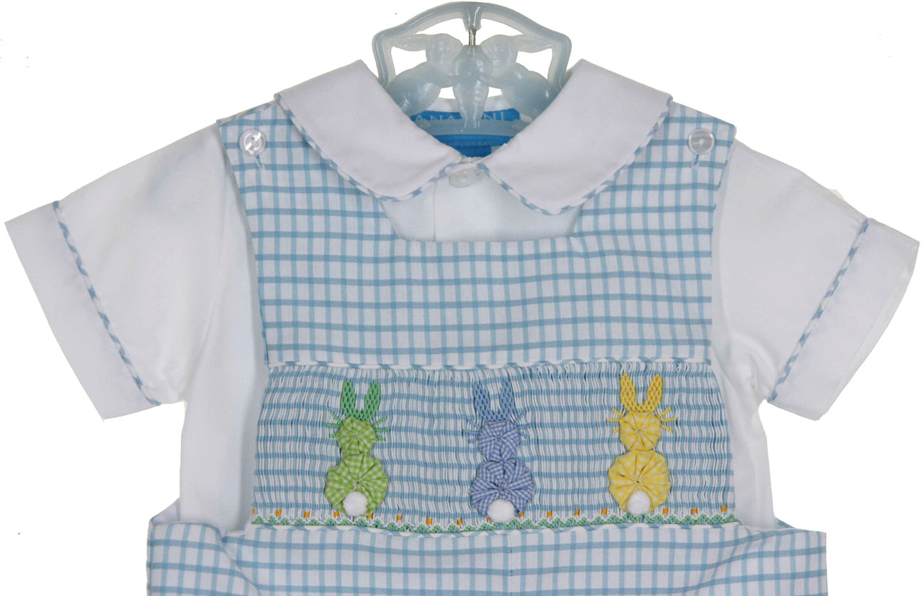 Anavini Blue Checked Smocked Shortall Set With Pastel
