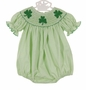 NEW Anavini Green Checked Smocked Bubble with Shamrock Embroidery