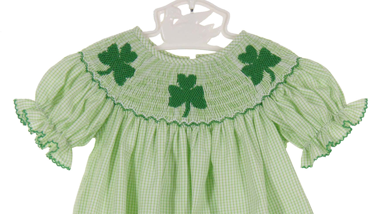 4f164465d Anavini green checked smocked bubble with shamrock embroidery,baby girls  bubble with shamrock embroidery,shamrock embroidered bubble for baby girls, St ...