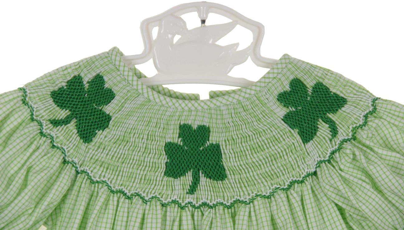 62047f6da Anavini green checked smocked bubble with shamrock embroidery,baby ...