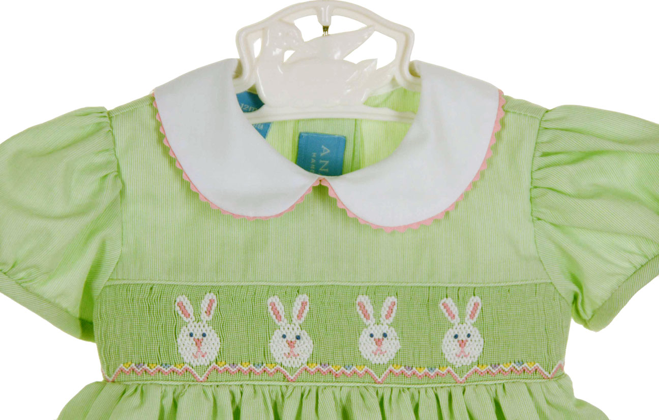 a89185dc7 NEW Anavini Lime Green Smocked Dress with Bunny Embroidery