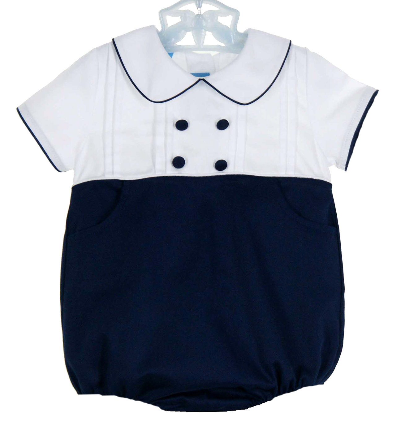 b655ef838 NEW Anavini Navy and White Cotton Pique Romper