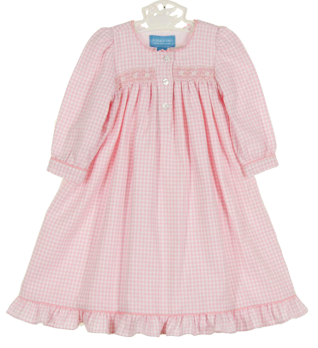 Anavini pink checked brushed cotton gown,pink checked brushed cotton ...