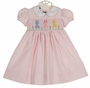 NEW Anavini Pink Checked Smocked Dress with Pastel Bunnies