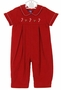 NEW Anavini Red Corduroy Romper with Embroidered Candy Canes