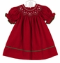 NEW Anavini Red Soft Cotton Corduroy Bishop Smocked Dress