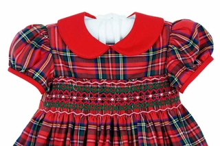 new anavini red plaid cotton smocked dress with red collar - Girls Plaid Christmas Dress
