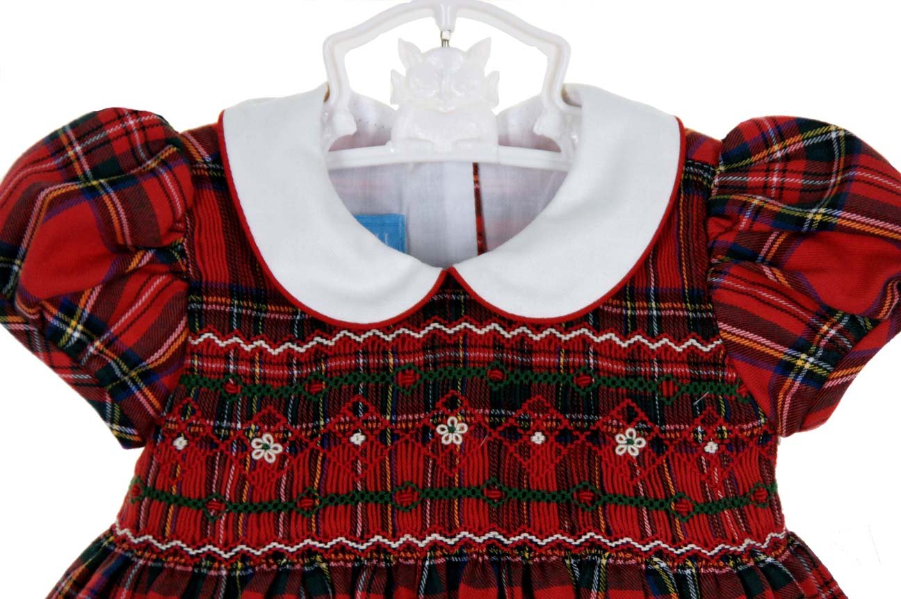 Anavini Red Plaid Smocked Dress With White Collar