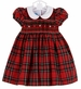 NEW Anavini Red Plaid Smocked Dress with White Collar