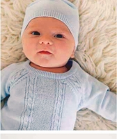 New Angel Dear Blue Soft Cotton Knit Baby Sweater Set With