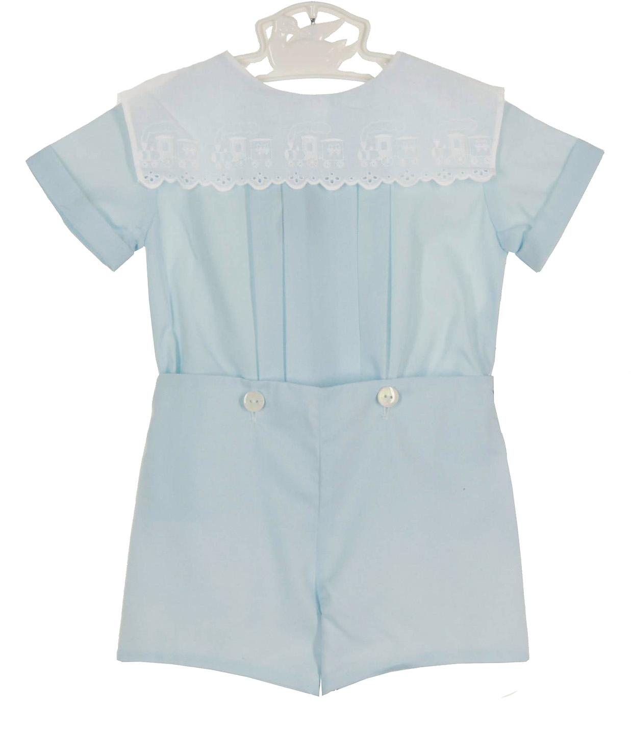 Avi Kids blue button on shorts set with train embroidered white ...
