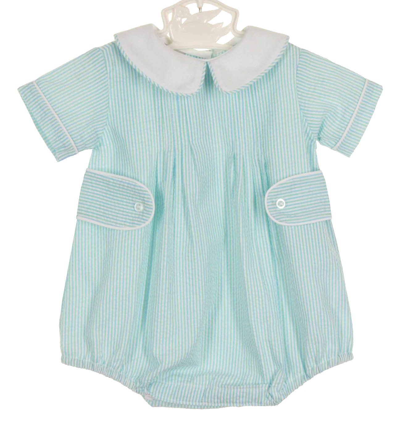 f6201d0ed0d6 NEW Anvy Kids Blue and Green Striped Seersucker Romper with White Collar