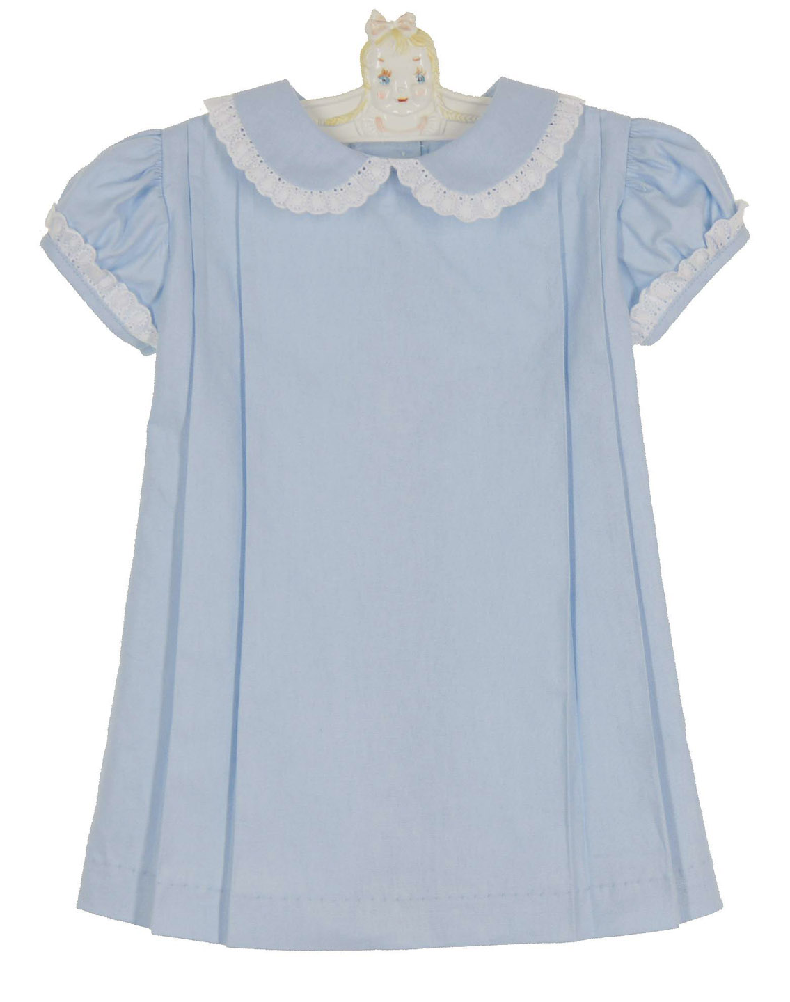 Anvi Kids blue linen pleated dress with white eyelet trim
