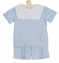NEW Anvy Kids Blue Linen Shorts Set with White Portrait Collar