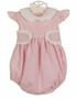 NEW Anvy Kids Pink Seersucker Striped Bubble with White Eyelet Trim