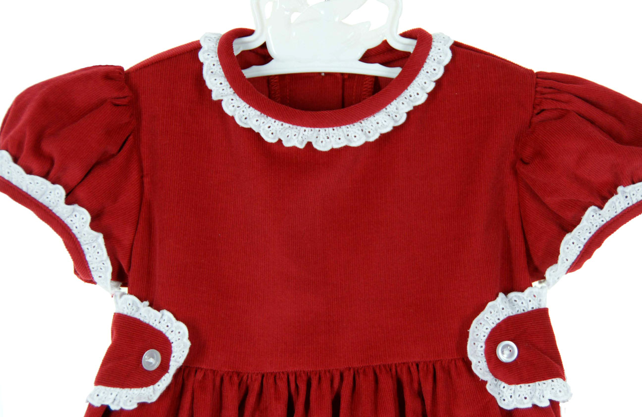 Anvy Kids red cotton corduroy dress with white lace trimmed collar