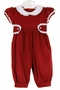 NEW Anvy Kids Red Corduroy Romper with White Lace Trimmed Collar