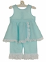 NEW Aqua Linen Ruffled Pantaloon Set with White Eyelet Trim