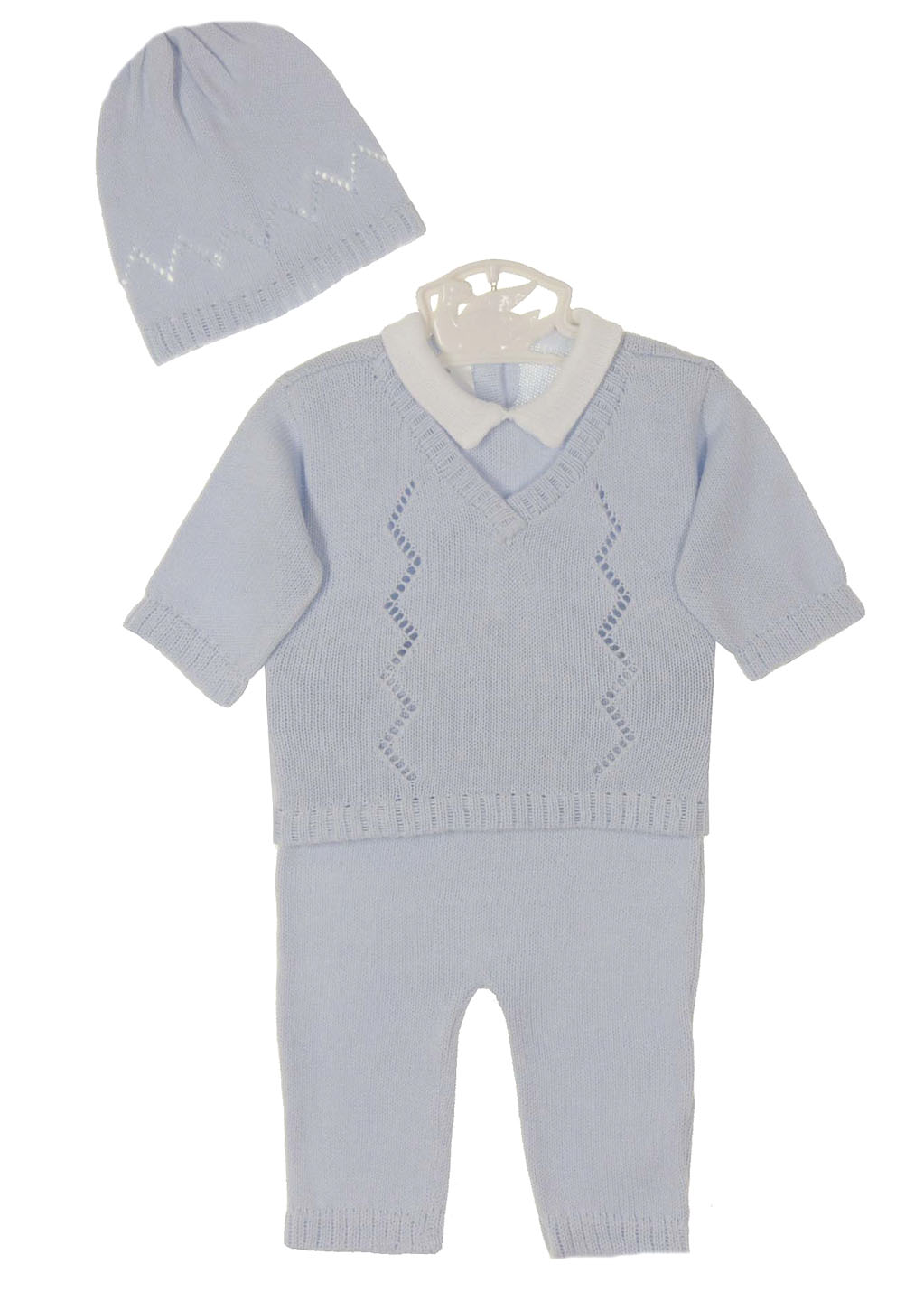 6f43c003b Baby s Trousseau pale blue cotton knit sweater and pants set with ...