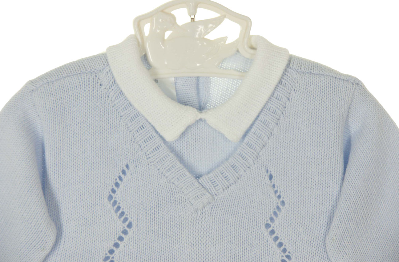 Baby's Trousseau pale blue cotton knit sweater and pants set with ...
