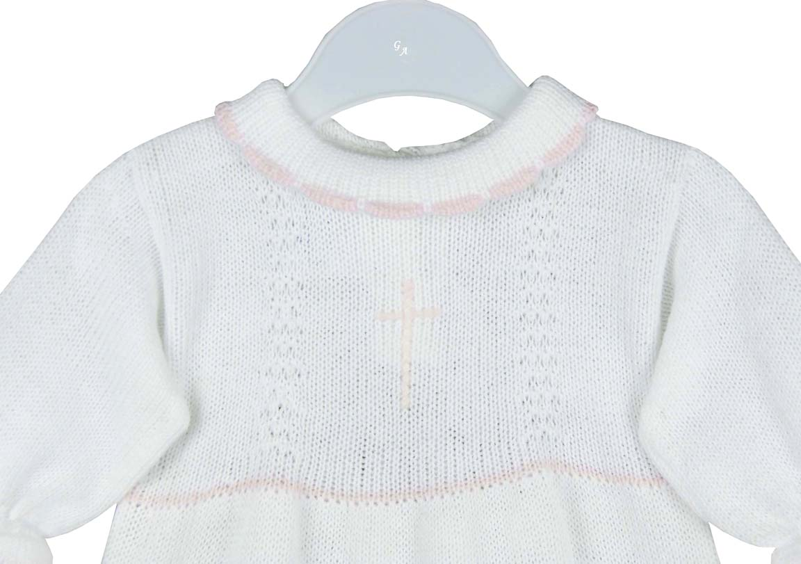 fead958c63f7 NEW Baby s Trousseau White Cotton Knit Gown and Matching Bonnet with ...
