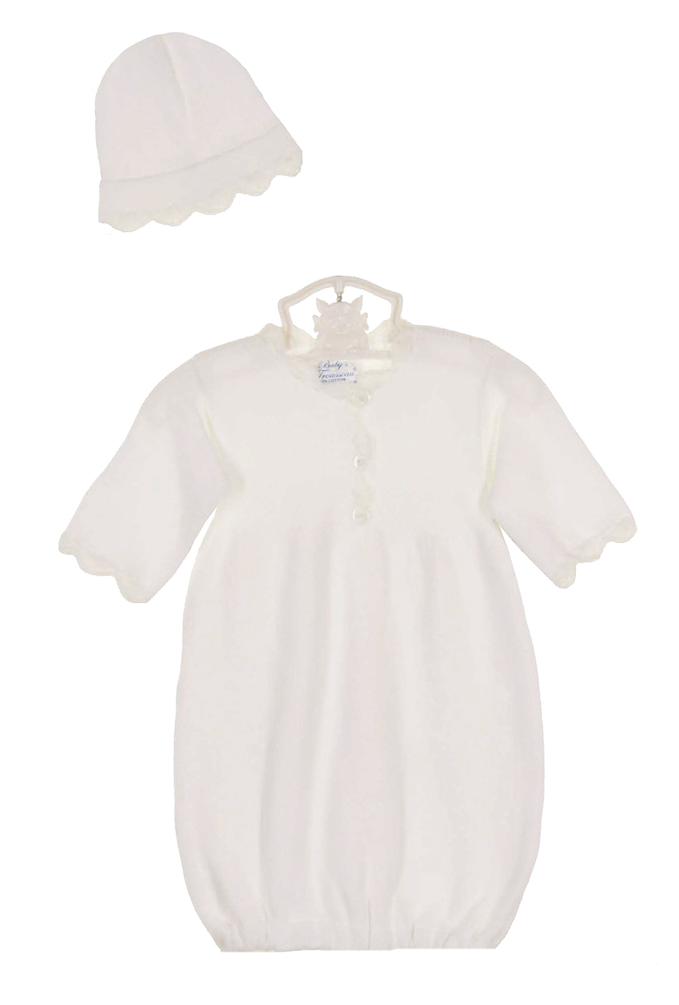 Baby s Trousseau white cotton knit gown with matching hat e9dcac13ae9
