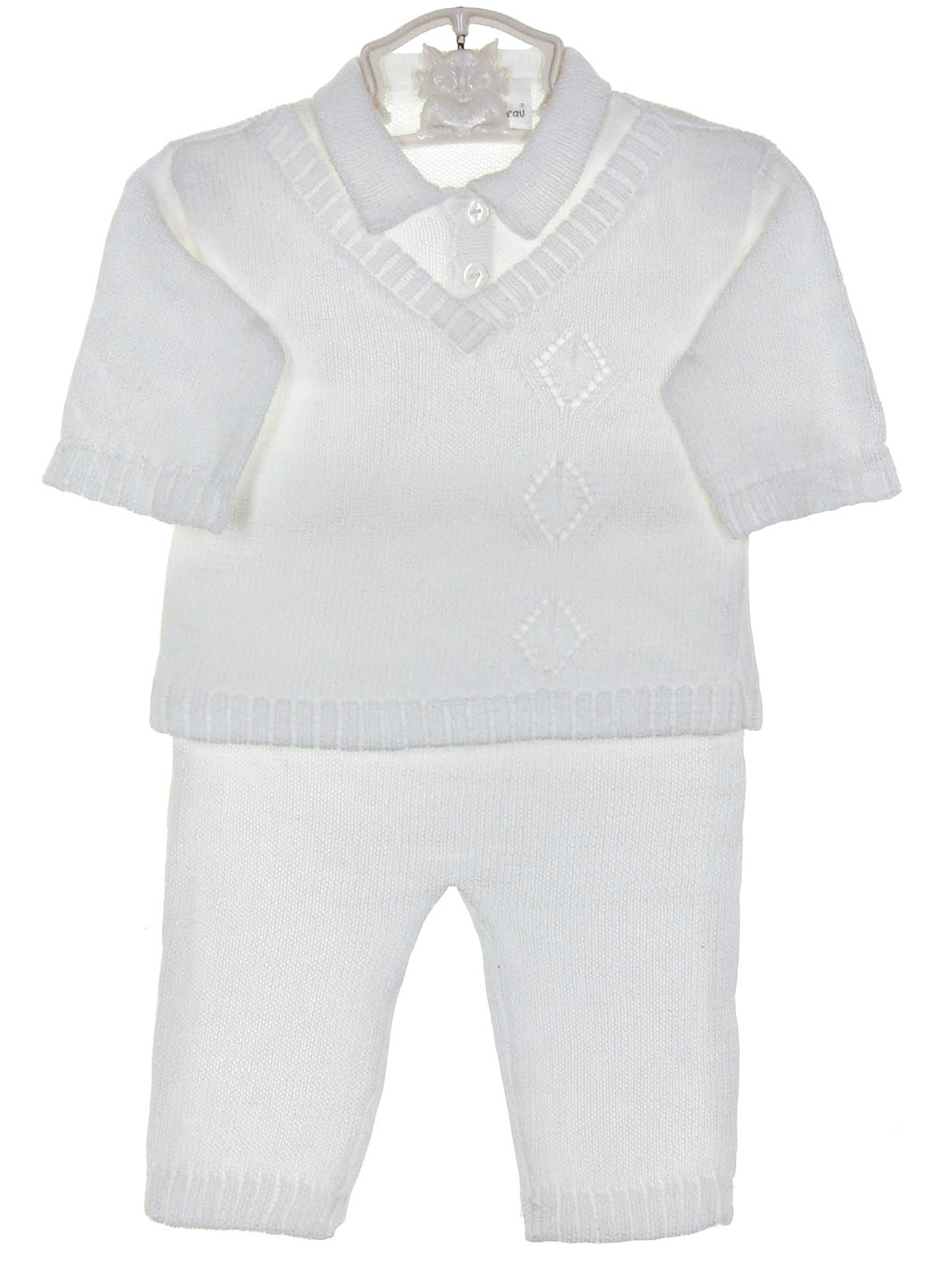 a59cef0b6 Baby s Trousseau white cotton knit pants set with matching hat