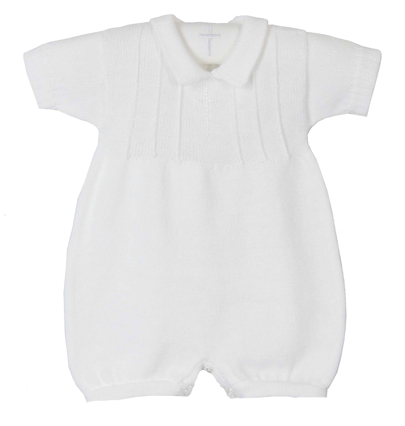 bfcbf47e7 NEW Baby s Trousseau White Cotton Knit Romper with Embroidered Cross ...