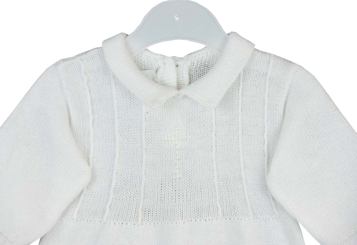 18366877ff61 NEW Baby s Trousseau White Cotton Knit Romper with Embroidered Cross ...