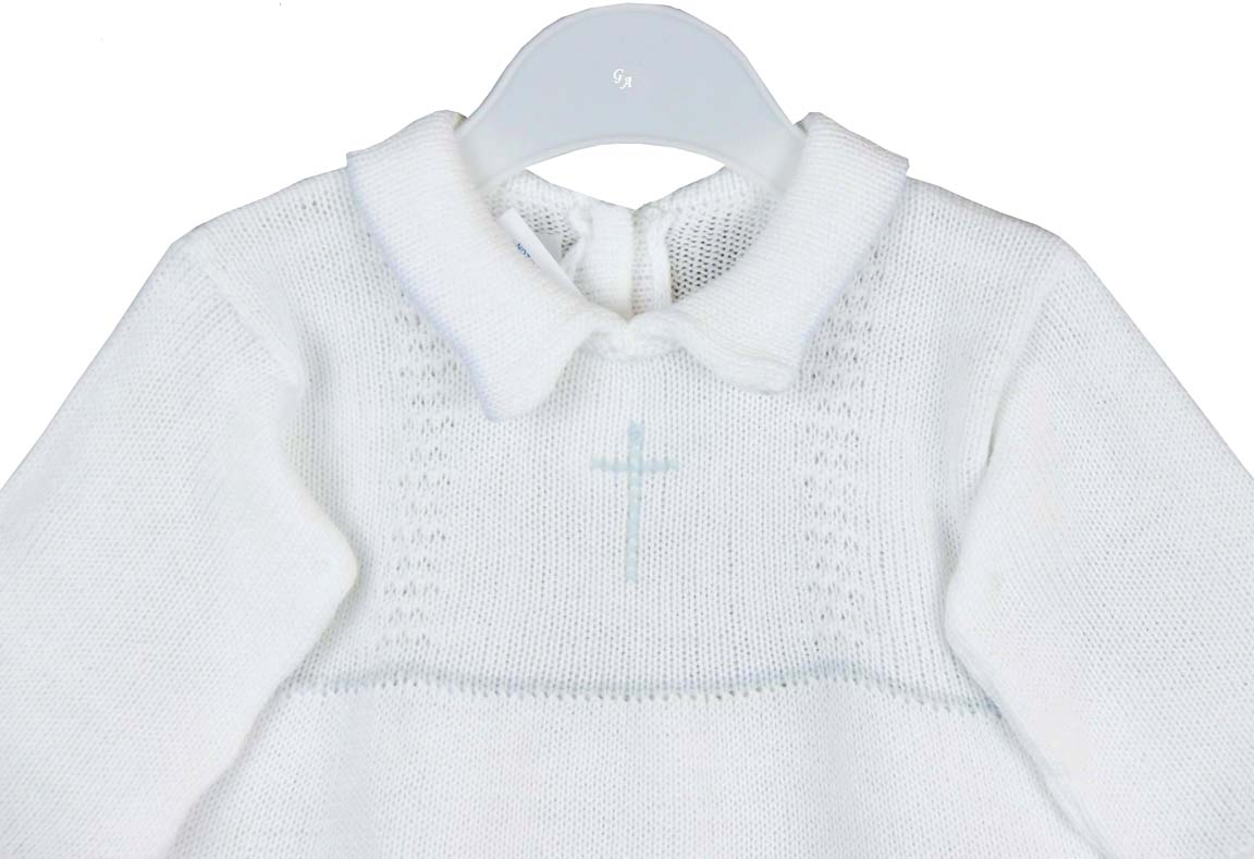 965f8ded69f4 NEW Baby s Trousseau White Cotton Knit Romper with Pale Blue ...