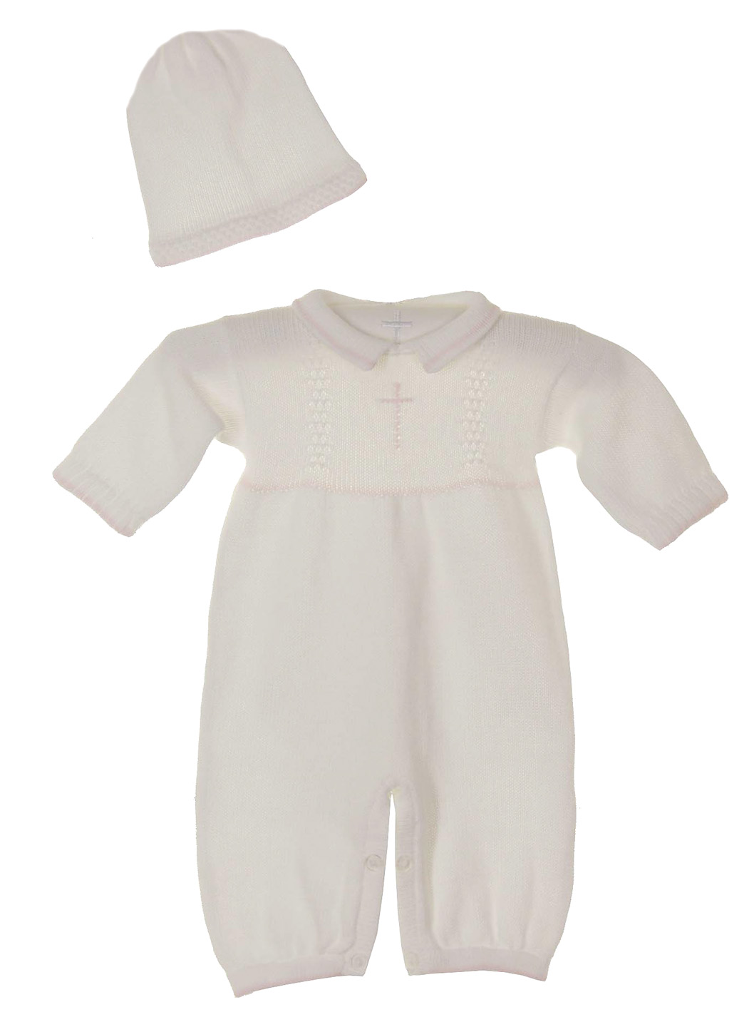 cfe52238b383 Baby s Trousseau white cotton knit romper and hat set with pink cross