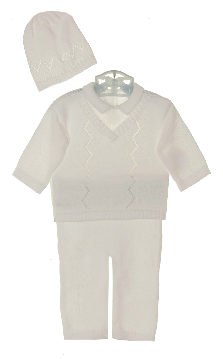 a459698bc Baby s Trousseau white cotton knit sweater and pants set with ...