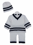 NEW Baby's Trousseau White Cotton Knit Sweater, Pants, and Hat Set with Dark Navy Stripes