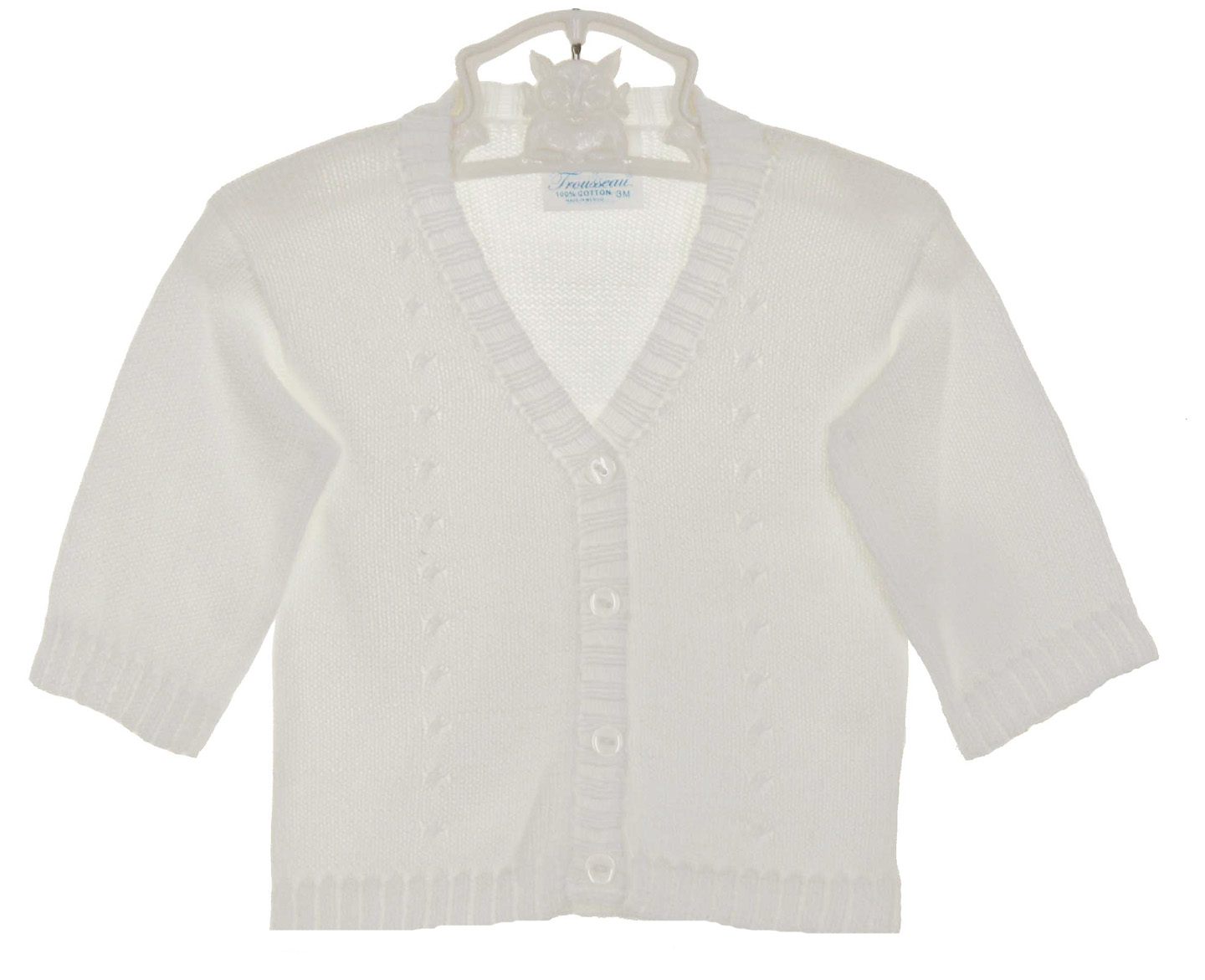 Baby's Trousseau white cotton sweater with cable design