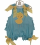 NEW Bailey Boys Aqua Checked Fanny Bubble with Appliqued Fuzzy Chick