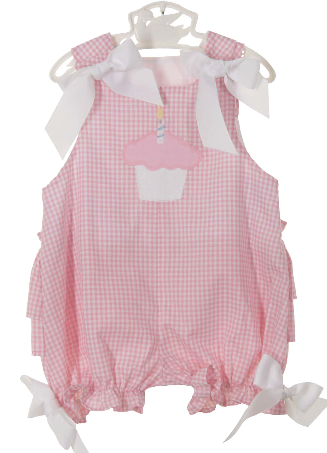 308a490266 NEW Bailey Boys Pink Checked Birthday Bubble with Ruffled Bottom
