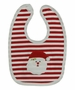 NEW Bailey Boys Red Striped Cotton Knit Bib with Santa Applique