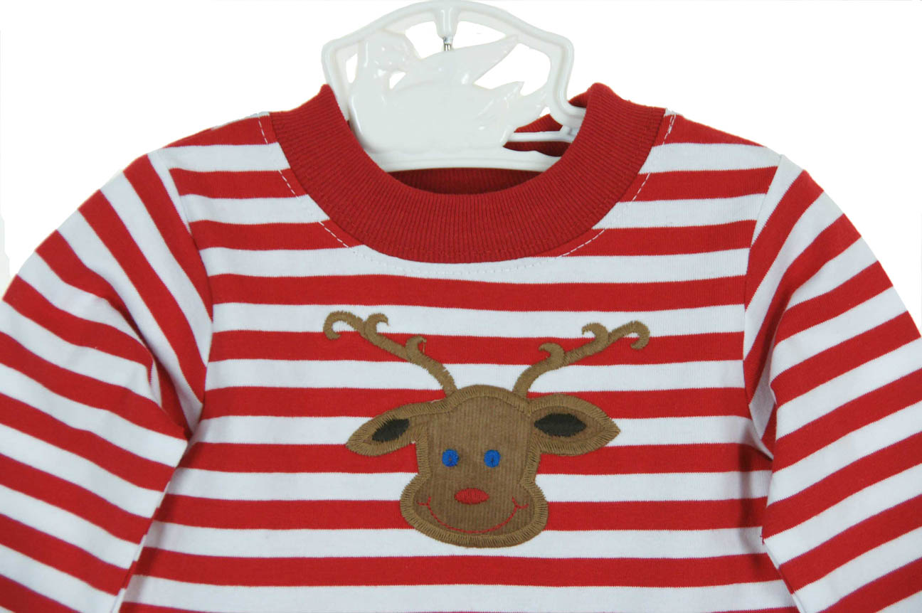 new bailey boys red striped pajamas with reindeer applique - Christmas Pjs Toddler