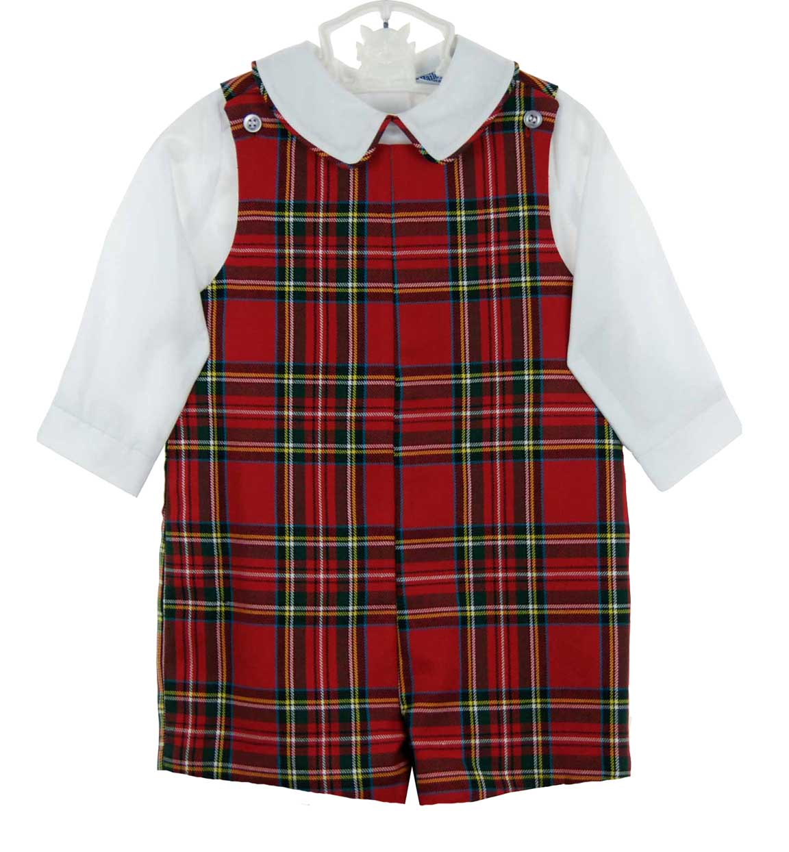 68c76ee2e Bailey Boys red tartan plaid shortall and shirt set,red tartan plaid ...