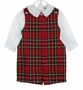 "<img src=""https://p11.secure.hostingprod.com/@grammies-attic.com/ssl/images/blue-sold-1.gif""> NEW Bailey Boys Red Tartan Plaid Shortall with Matching White Shirt"