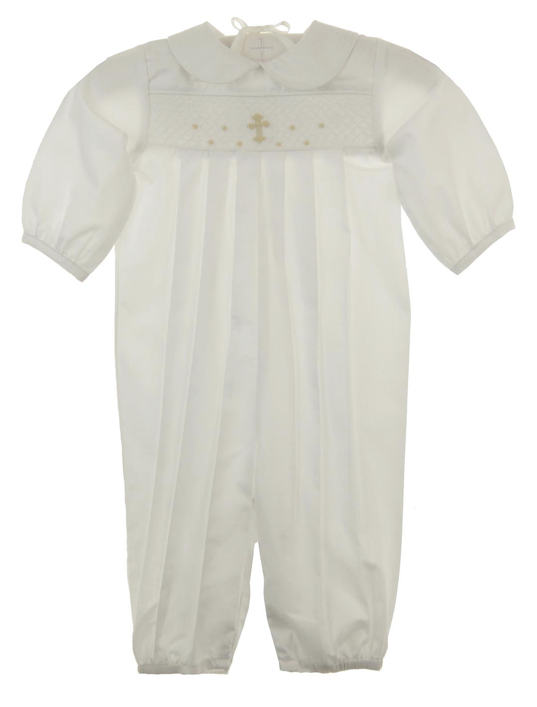 a9fc2ee386a1 NEW Bailey Boys White Smocked Romper with Ivory Embroidered Cross