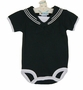 NEW Black Cotton Knit Sailor Romper with White Trim