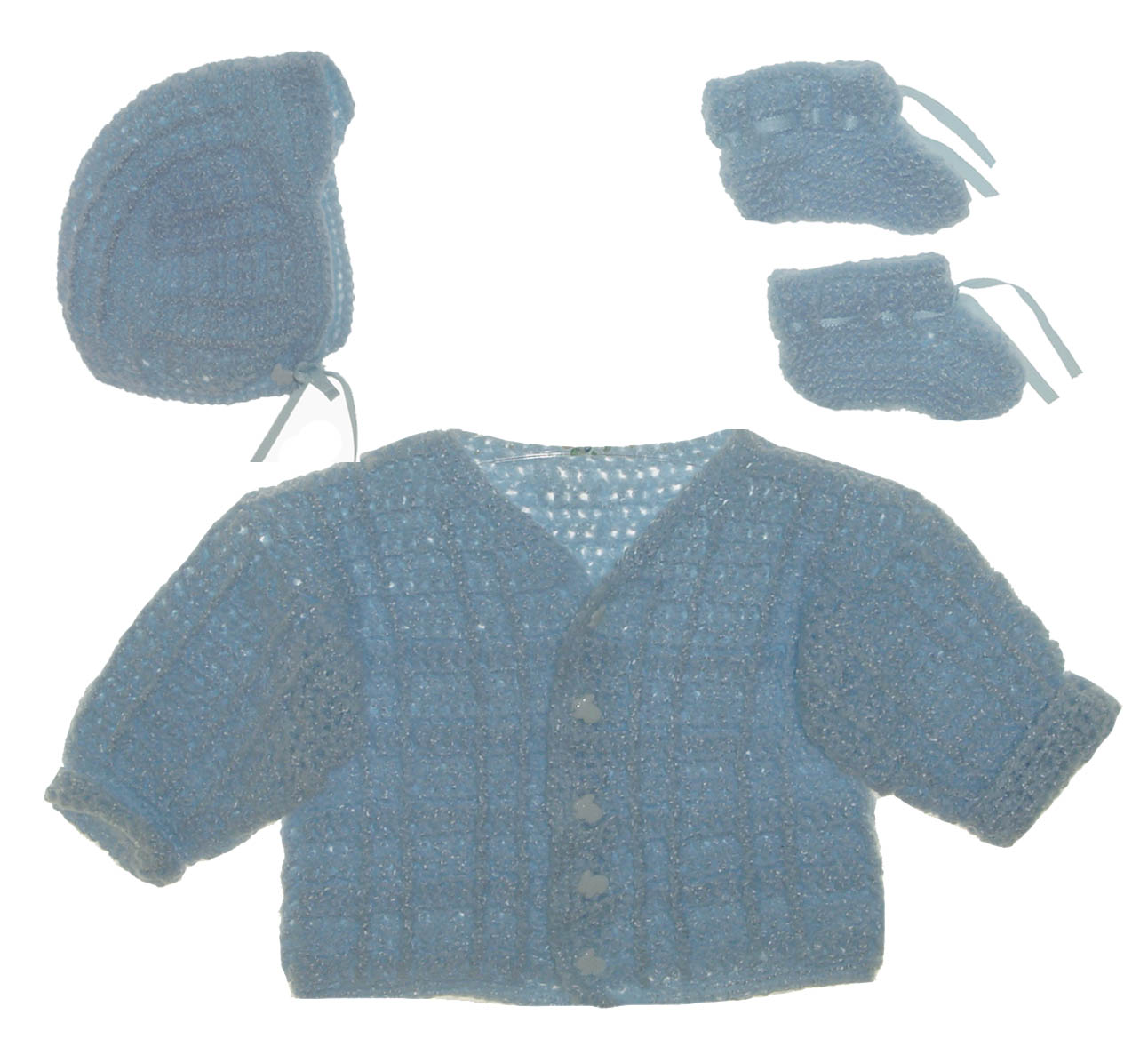 606a2f2cc hand knit blue sweater hat and booties set