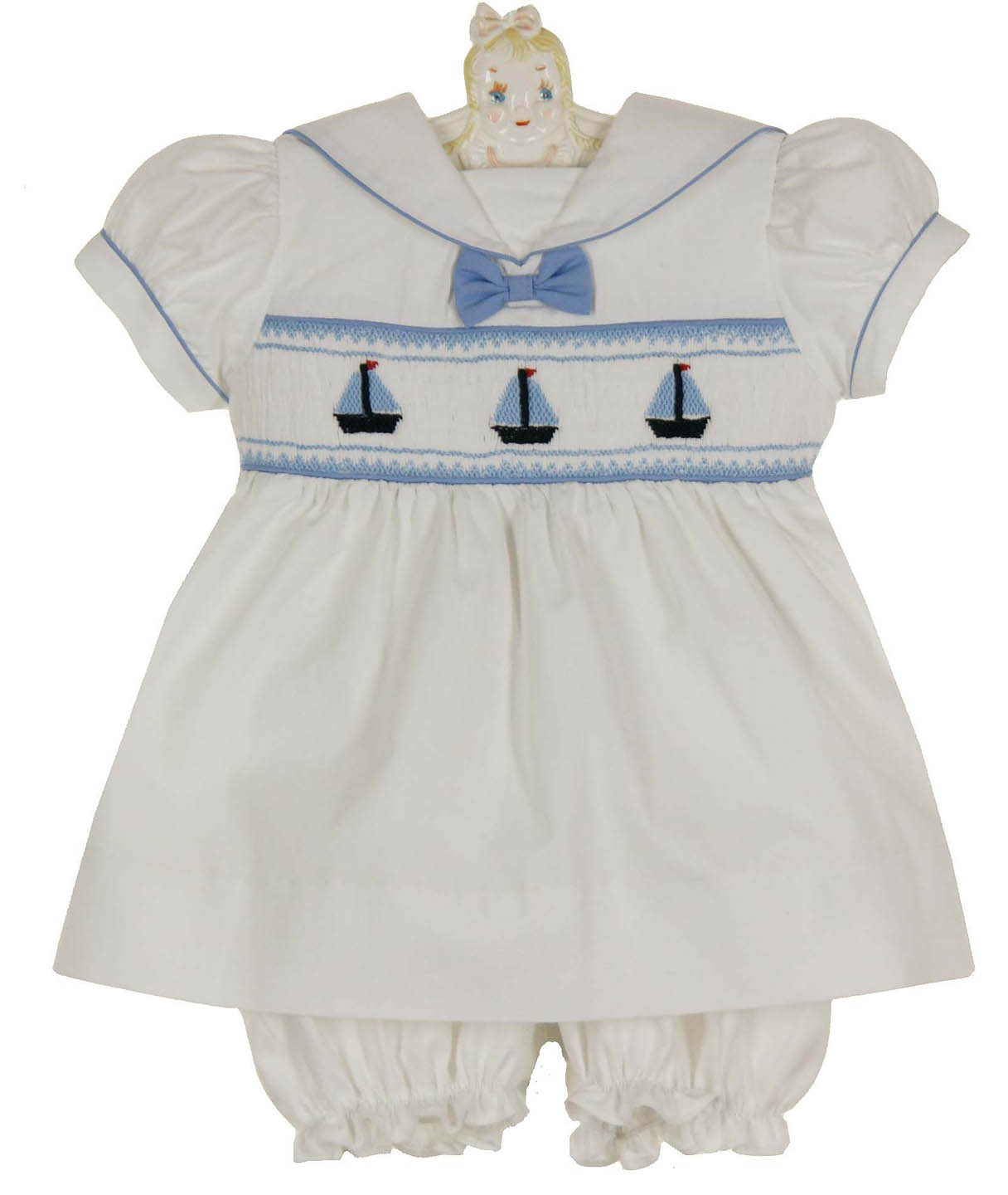 Carriage Boutique white smocked dress and bloomers with ...