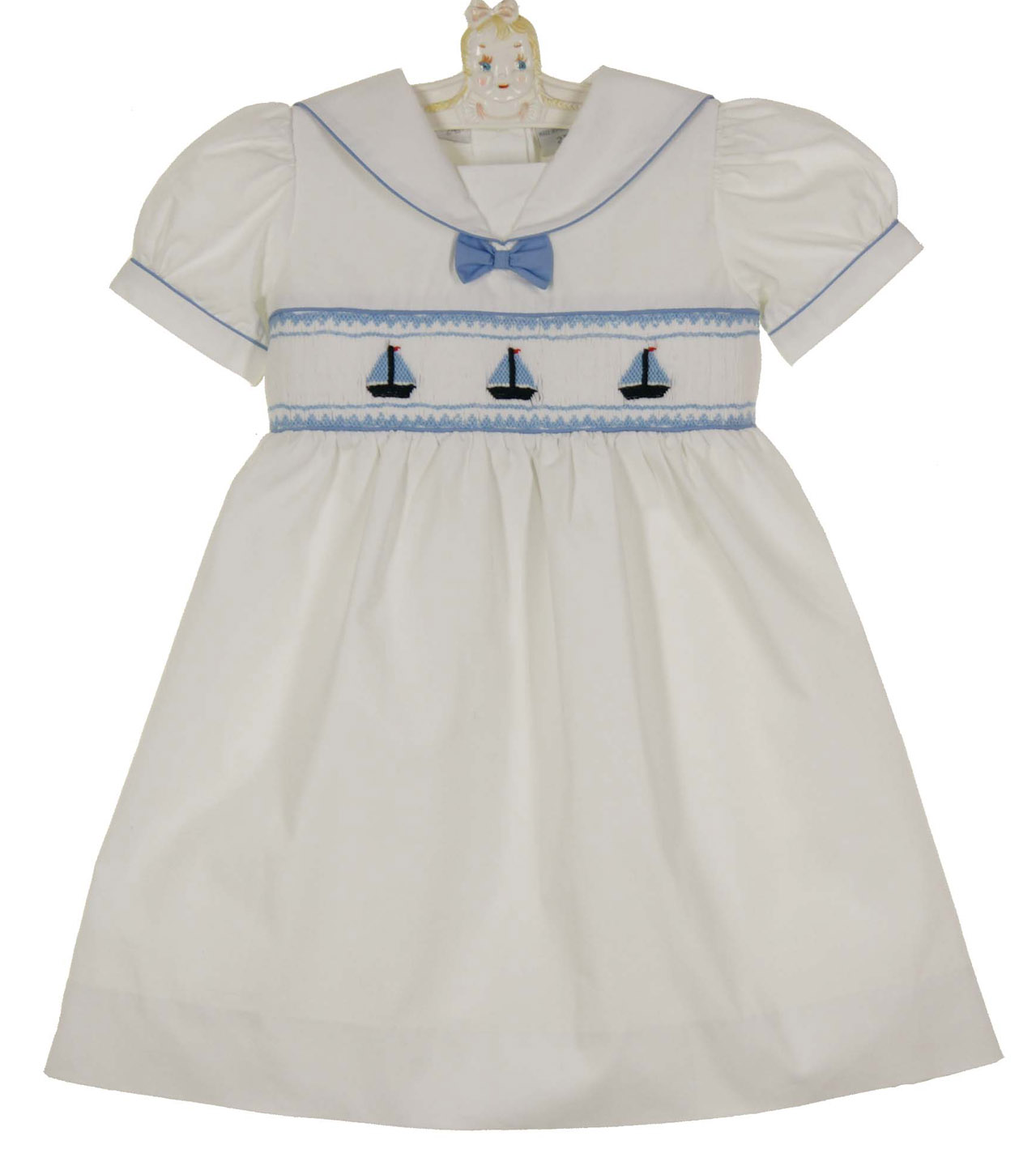 28c5b1ce9 Carriage Boutique white smocked toddler dress and bloomers with boat ...