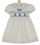 "<img src=""https://p11.secure.hostingprod.com/@grammies-attic.com/ssl/images/blue-sold-1.gif""> NEW Carriage Boutique White Cotton Smocked Toddler Dress with Embroidered Boats"